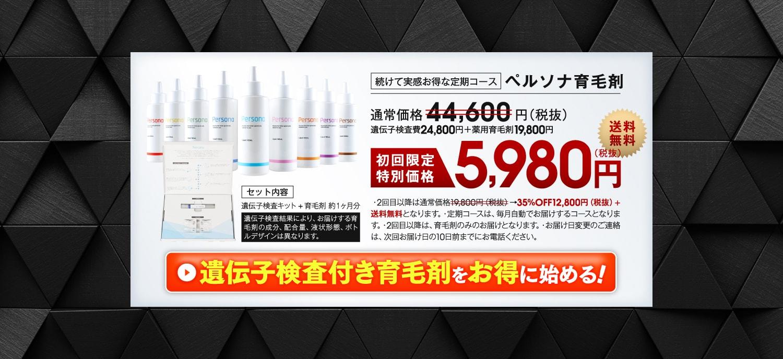 ペルソナ育毛剤 37,600円→定期購入特別価格5,980円送料無料