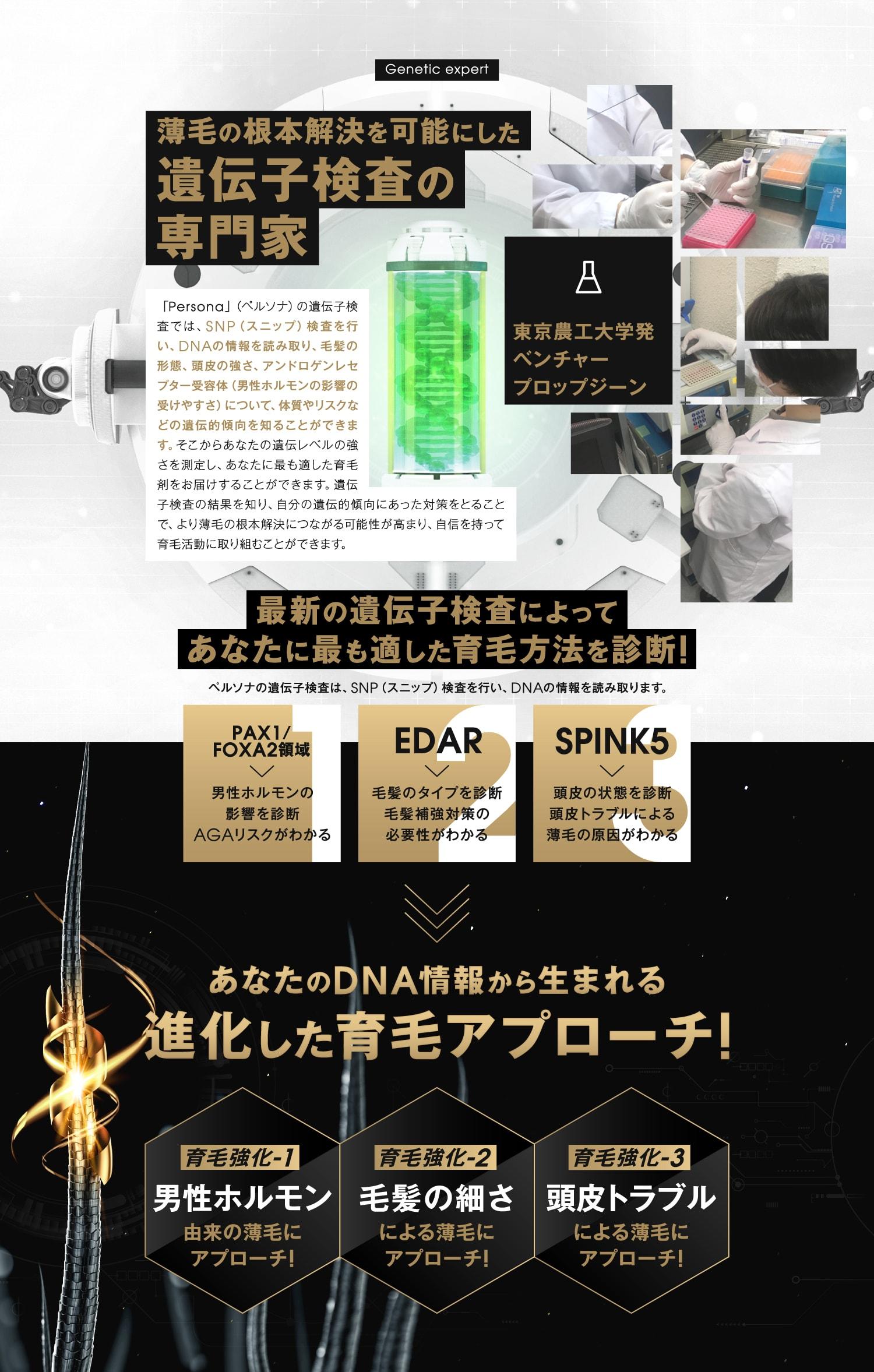 Persona-ペルソナ- 遺伝子検査からの本物の育毛剤への挑戦!育毛革命!