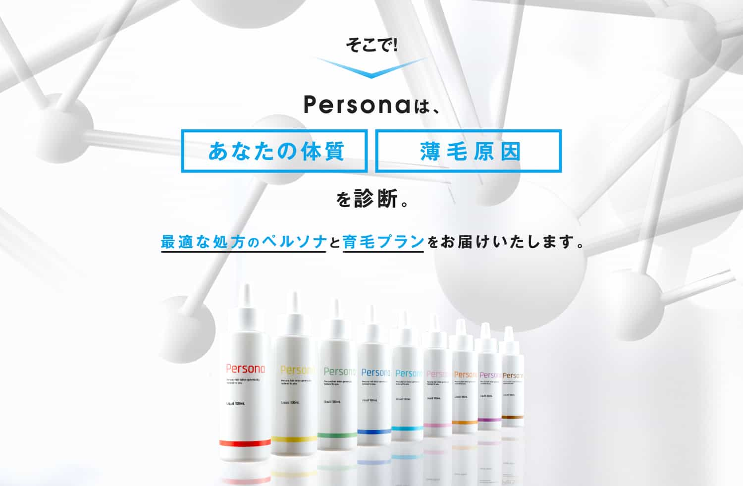 Personaは、あなたの体質+薄毛原因を診断。